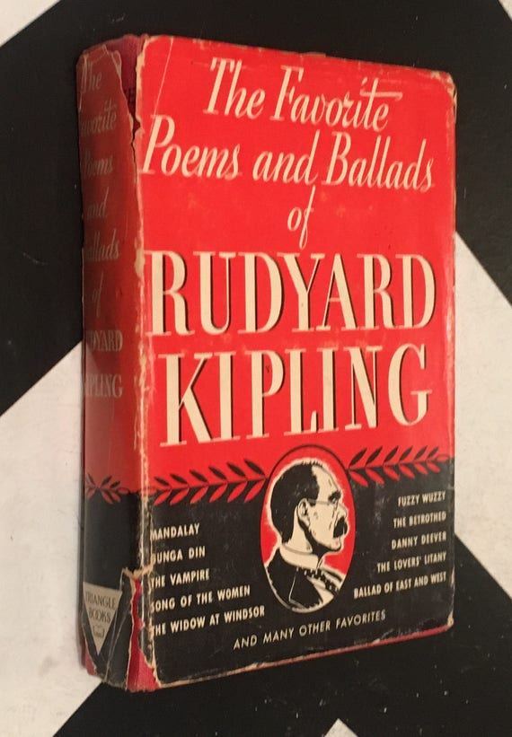 The Favorite Poems and Ballads of Rudyard Kipling by Rudyard Kipling (Hardcover, 1941) vintage book