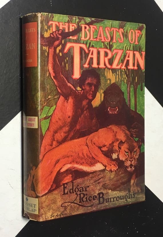 The Beasts of Tarzan by Edgar Rice Burroughs (Hardcover) vintage classic fiction book