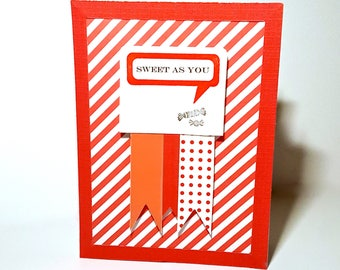 Sweet As You Valentine's Day Greeting Card - Candy, Stripes, Red, White