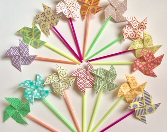 Origami Pinwheel Cake Toppers Assorted Color Patterns Set Of 12