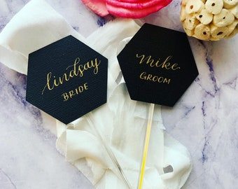 Champagne Flute Glass Place Cards Hand Lettered Heart Cocktail Stirrers Wedding Place Cards Drink Stirrers Wine Glass Place Cards