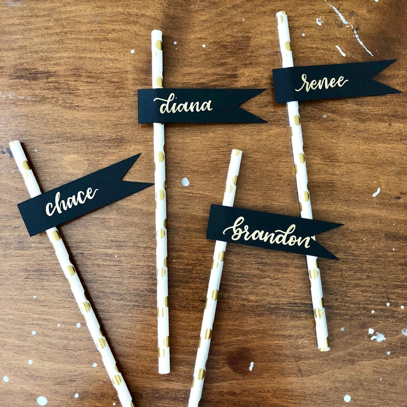 Hand Lettered Gold Paper Straws Place Cards, Black Flags Straw Place Cards,  Gold Polka Dot Party Straws, Champagne Flute Glass Place Cards