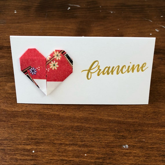 Origami Heart Name Place Cards Origami Heart Name Cards Etsy