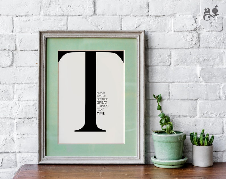 Initial Letter R Quote Wall Art Print