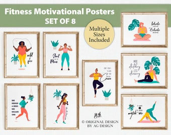 Fitness Women empowerment Quotes Poster Set of 8, Home gym decor, Exercise poster, yoga/gym teacher-fitness coach-personal trainer gift