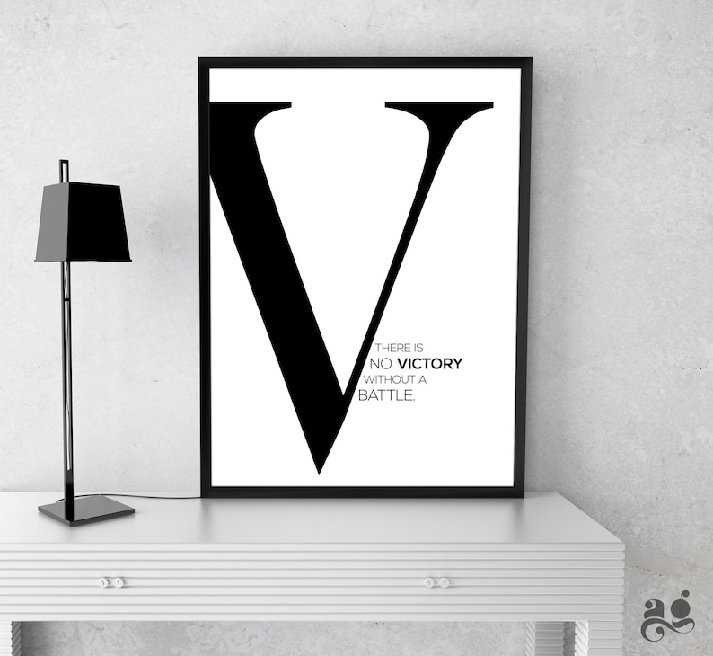 photo about Letter V Printable named Letter V Printable Signal, There is no Victory with no a beat Quotation, Monogrammed V Print, Initially Standing Initially Poster, Typography Wall Decor