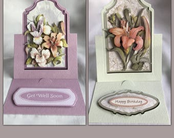 3D floral greeting card   2 choices   hand crafted   birthday   charity   get well card