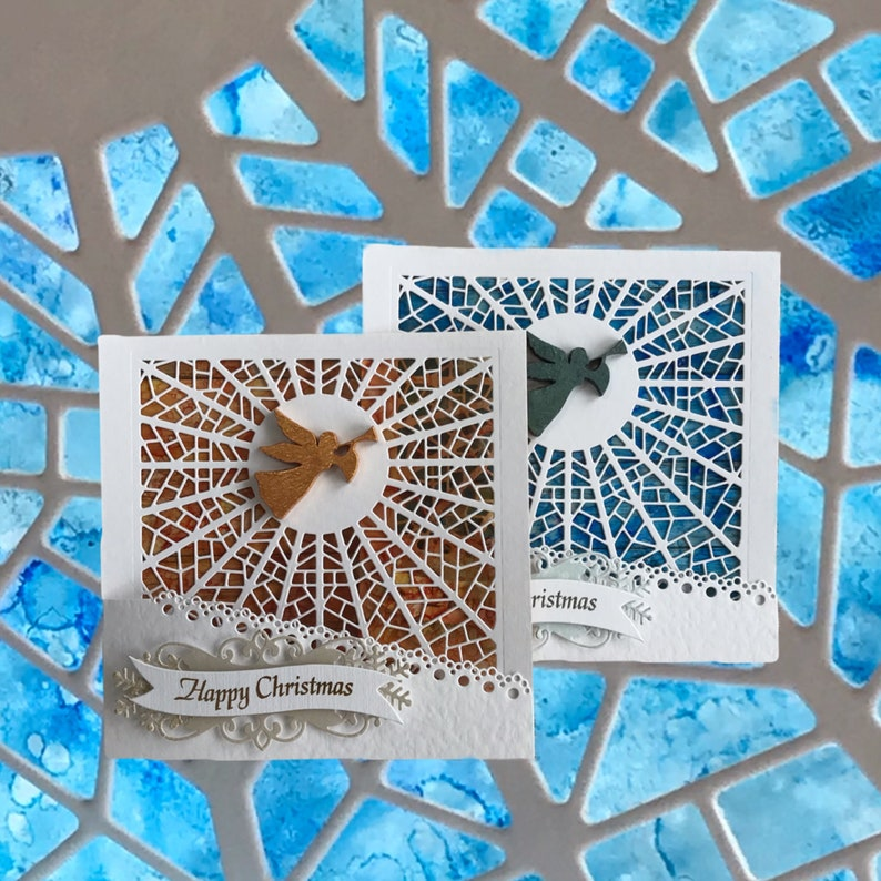 2 Stained glass effect sun catcher Christmas card  Special image 0