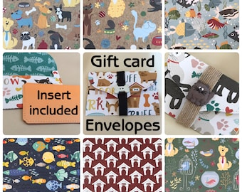 Pet / animal themed gift card envelope   6 designs   money card   thank you gift   invitation   DIY coupon   voucher holder   charity