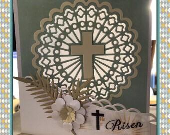 Illuminated Christian Card   sun catcher   religious card   Christian   cross   personalised
