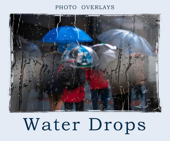 Water Drops Photoshop Overlay, Rain Overlay, PNG, Rain Texture, Falling  Rain, Photo editing, Textures overlays, Digital Backdrops,