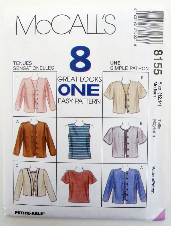 Womens Top Jacket Sewing Pattern One Pattern 8 Great Etsy