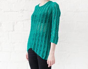Knit blouse transparent top elegant blouse emerald blouse original blouse long sleeve blouse festival shirt tribal chic