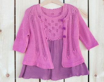 baby girl  Dress cardigan Clothing set for knitting dress knit tunic summer dress pink dress pink cardigan 2 3 years