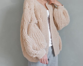 9d12b8a737 Bomber jacket chunky cardigan Oversized cardigan chunky knit bomber big sweater  coat womens wool jacket outerwear bulky knit jacket beige
