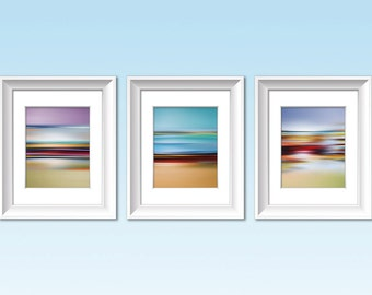 Set of Three Prints, COLOR FIELD LANDSCAPES #1, #2 and #3, Modern Art, Contemporary Print, Abstract Landscape, Minimalist Landscape Artwork