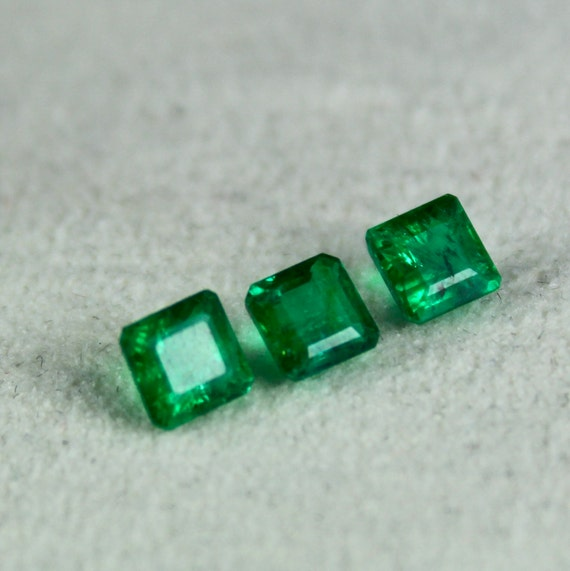 3.5mm WHOLESALE NATURAL UNTREATED EMERALD SQUARE FACETED  LOOSE GEMSTONE 3mm