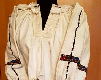 Antique Linen folk blouse, Transylvanian  Hand Embroidered 100% natural linen blouse,  Folk Costume embroidered linen