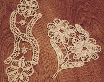 Two vintage doily, vintage doilies, vintage linens, crochet doilies, vintage lace, crochet lace, handmade doily, antique linens