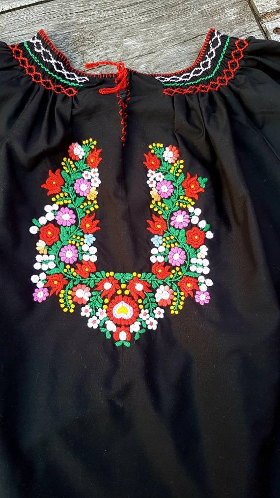 Hungarian Black Blouse Floral handembroidered, Pea