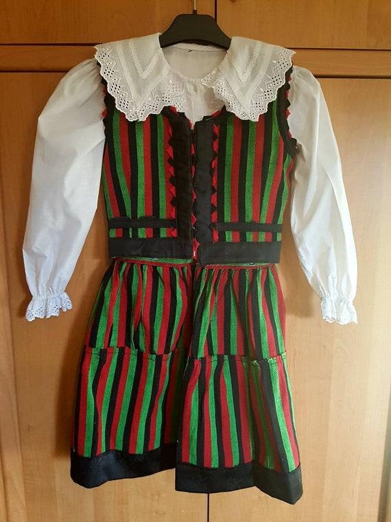 Vintage Hungarian selker dress linen dress, székel
