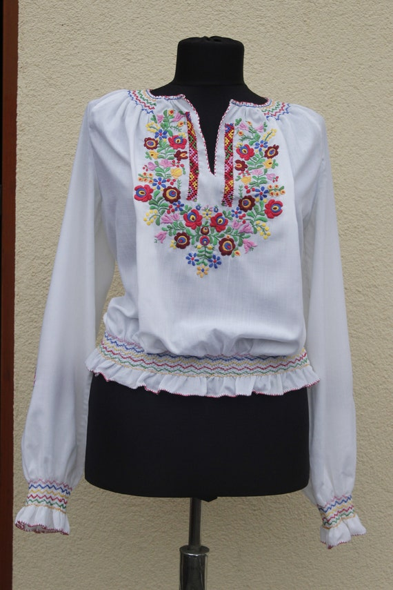 Vintage Hungarian  Blouse Floral handembroidered,