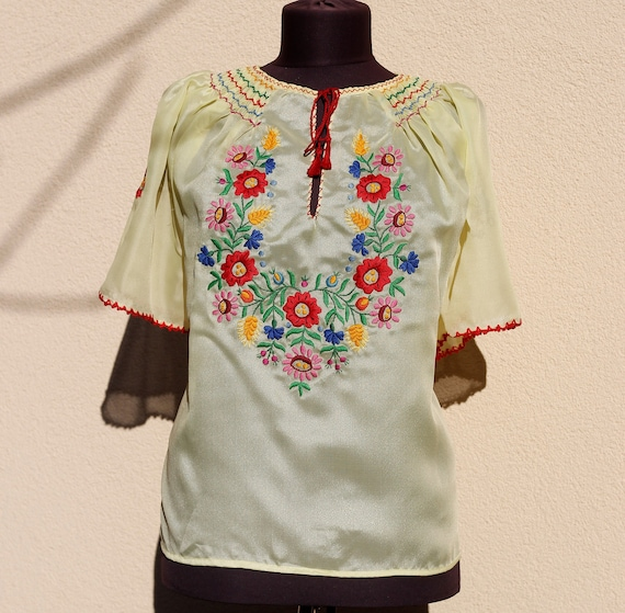 Hungarian Handembroidered Blouse  Yellow Floral Ha