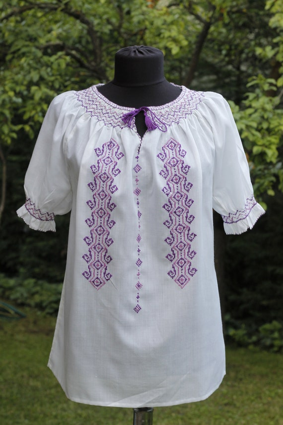 Vintage Hungarian White and Purple handembroidered