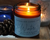 Winter Scented Soy Candle Jar Medium Christmas Citrus Woods Patchouli Vegan Friendly Cruelty-Free Christmas Gift
