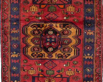 """A  Vintage Persian Hamadan red and Mustard with Animal Motif rug  4'4"""" x 6'7"""""""