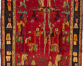 """4'2"""" x 6'0"""" Vintage Persian Tribal 1960's Red with Yellow accent - Rug"""