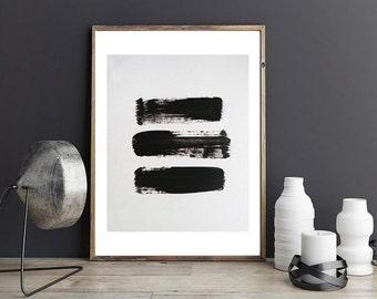 Contemporary Printable, Minimalist, Abstract Print, Black Painting, Modern Prints, Brush Stroke Print, Brush Strokes, Scandinavian Art,