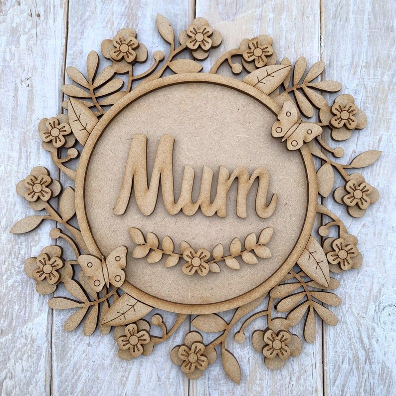 Laser Cut MDF Layered Mothers Day Floral Ring Kit