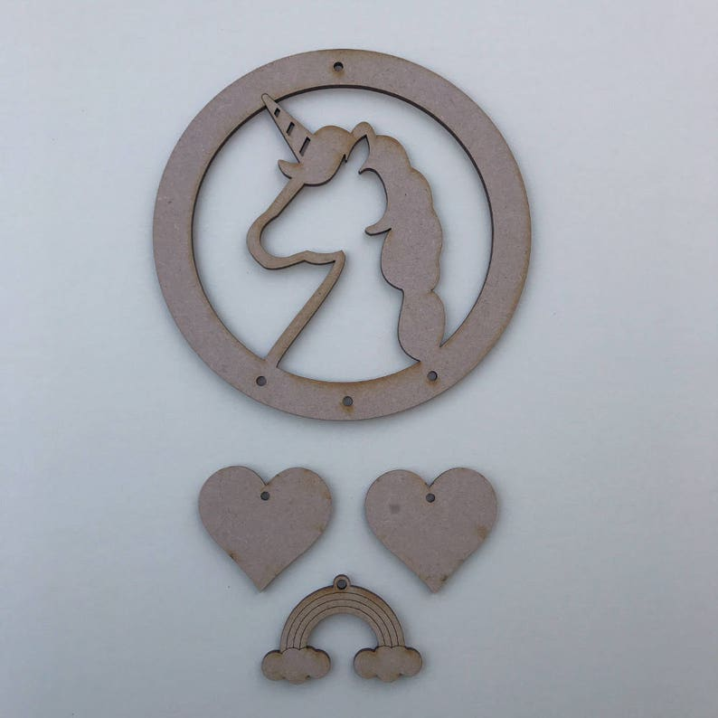 Unicorn Wooden MDF Dreamcatcher Hanging Shape Decorating Craft Personalised Hoop