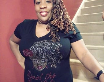 Bling Tee with Dreadloc Woman Image and Logo 'Livin' the Loc Life'
