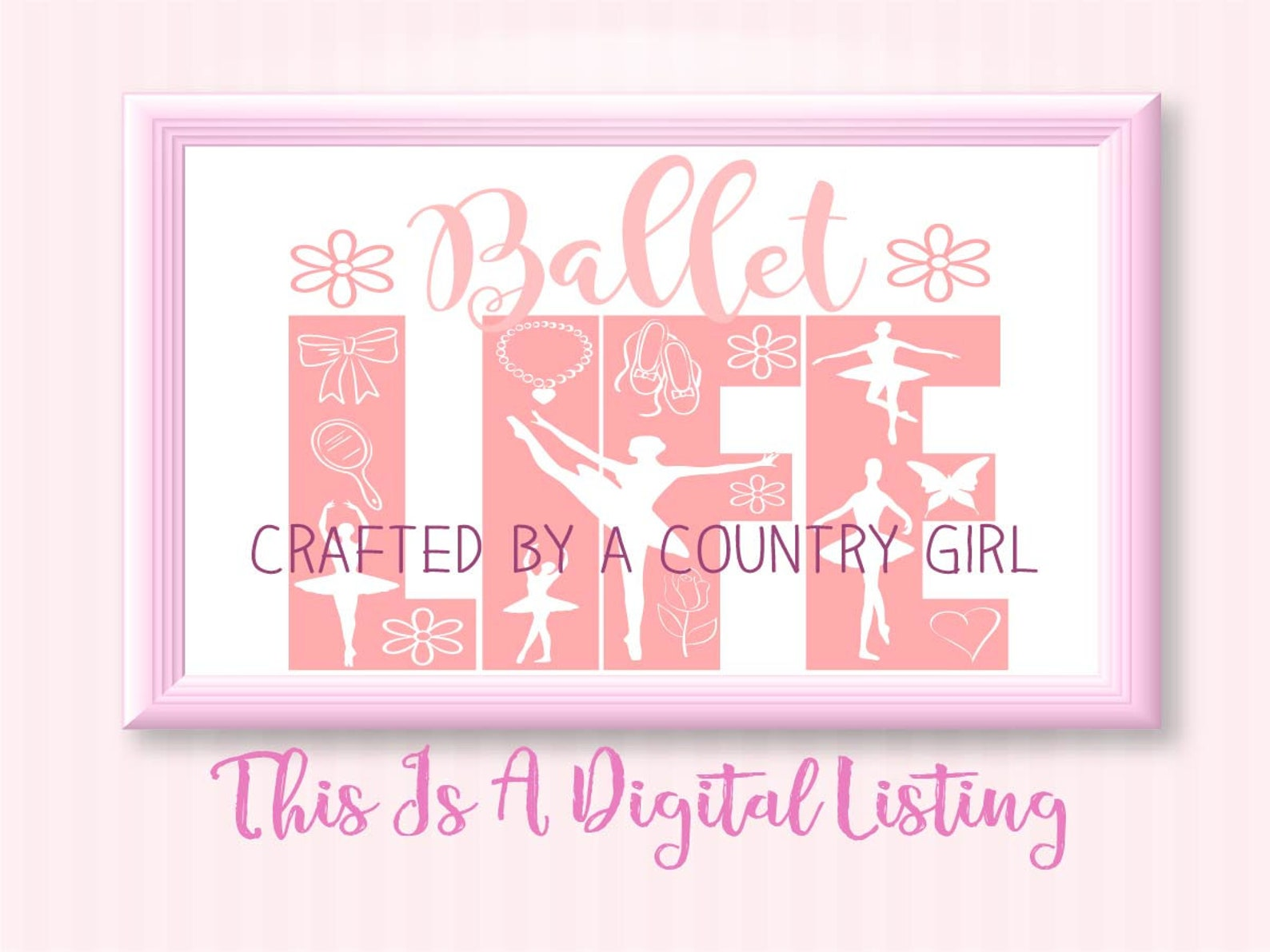 svg, ballet life, life design, girl, girls, ballet shoes, flower, bow, dance, choreography, silhouette, cricut, scrapbook, vinyl