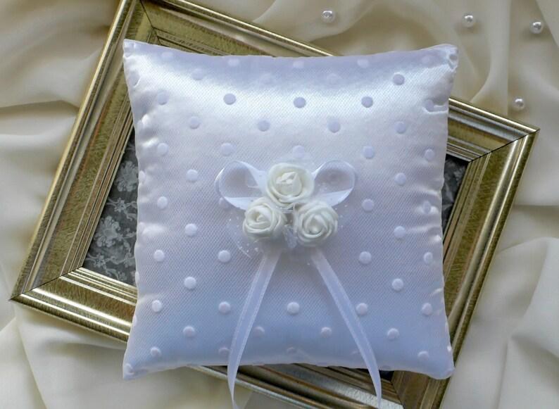 wedding ring bearer White ring holder pillow with roses Polka dot wedding ring pillow with off-white roses ring cushion