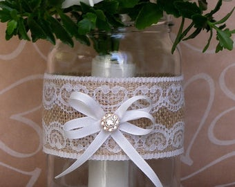 7 quart mason jar wraps, Burlap and Lace Mason jar sleeves, 7 Table Centerpieces, Rustic wedding decor, Party or home decoration