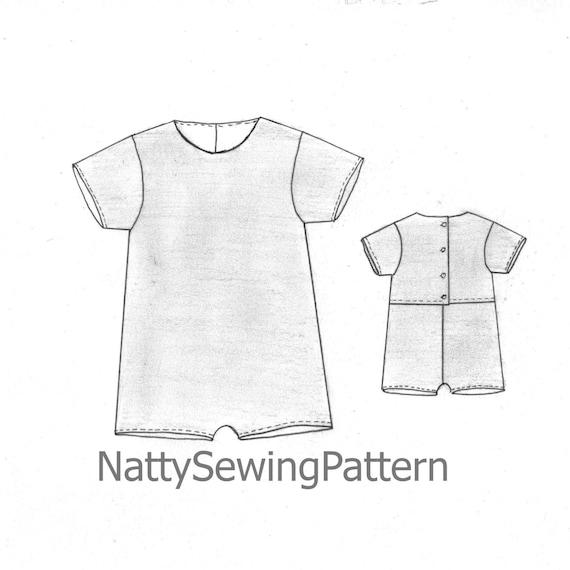 Patrón de costura de traje niño niñas y niños mameluco del | Etsy