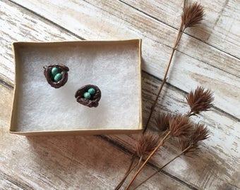 Tiny bird nest earrings, polymer clay bird nests, Robin's nest earrings