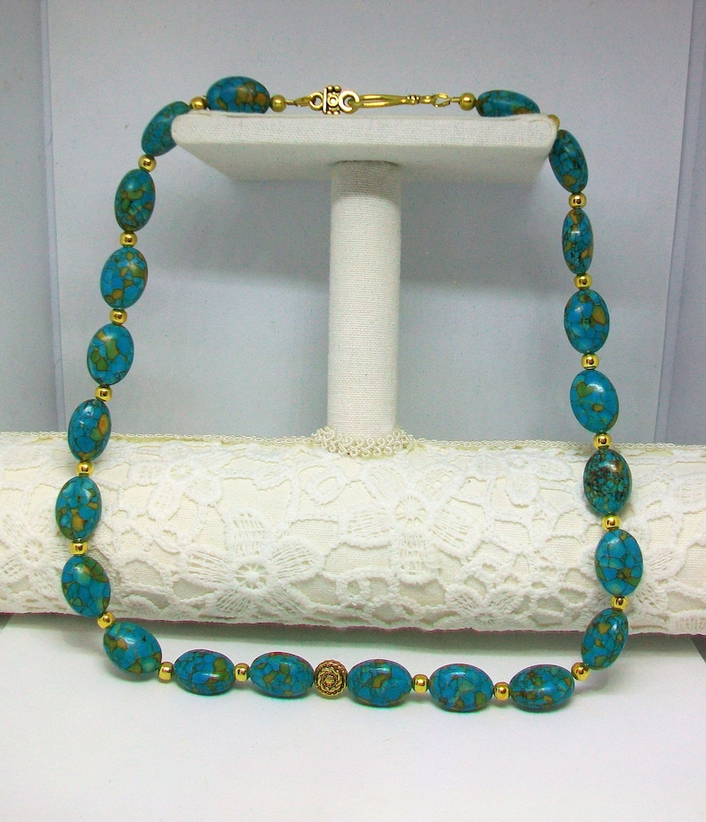 handmade 53 cm Turquoise and brass necklace