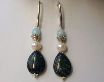 Pendant brass earrings with lapis lazuli drops, cultivated pearls and aquamarine, 55 mm