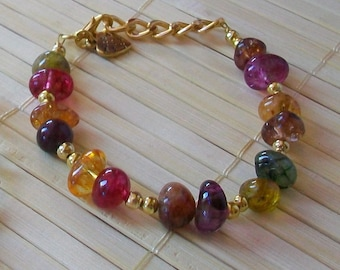 Bracelet with natural stones and brass, handmade, 20 cm