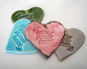 Ceramic hand-made heart label : Home sweet home, 5 cm