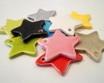 Ceramic hand-made star : rainbow, 3 cm