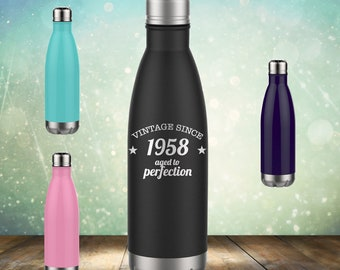 1958 60th Birthday Gifts For Women And Men 17 Oz Screw Water Bottle Cup