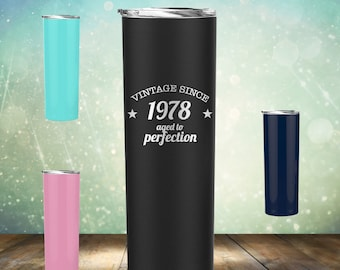 1978 40th Birthday Gifts For Women And Men 20 Oz Skinny Tumbler Glass Cup