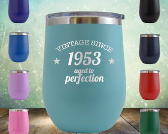 1953 65th Birthday Gifts For Women And Men 12 Oz Wine Glass Tumbler Cup