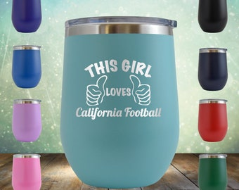 65e7159b1cb6 California Football Girl Wine 12 oz NFL Rams Raiders State Gifts Engraved  Tumbler Cup Glass Stemless - Birthday Gift him