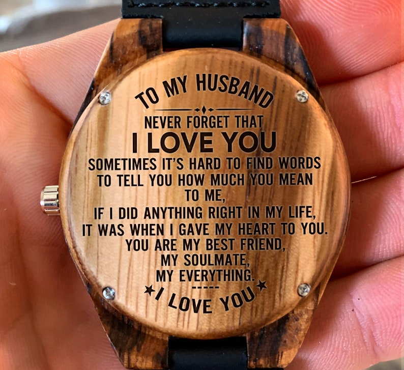 To My Husband I Love You Engraved Wooden Watch Wood Gifts